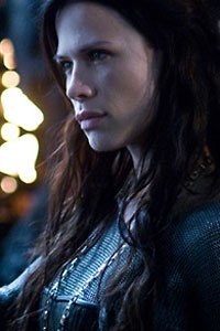 Underworld 3's Rhona Mitra as Sonja, glowering.