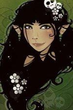 An elf girl with long black hair.