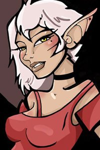 A cartoony elf woman with short white hair and a red top.