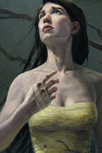 A woman with long dark hair and a yellow dress looks upward.