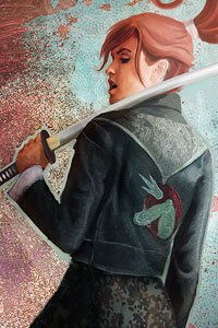 A woman with red hair and a long black coat rests a katana on her shoulder.
