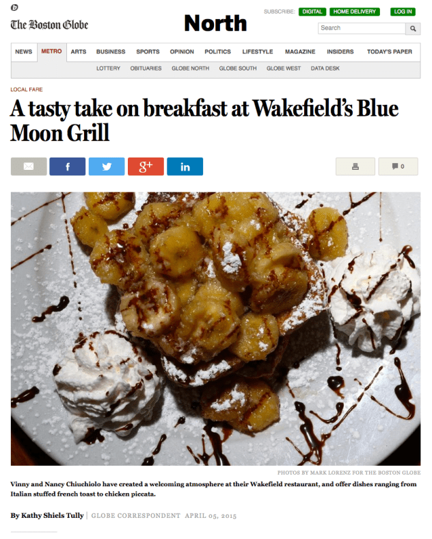 Blue Moon Grill featured in The Boston Globe - April 2015