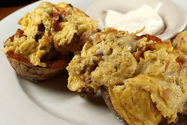 Breakfast Stuffed Potato Skins - Blue Moon Grill Wakefield via Instagram by phantomgourmet