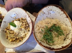 Roasted corn and rice at Puesto