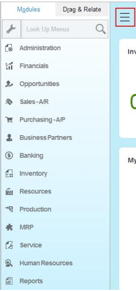 SAP Fiori Main Menu