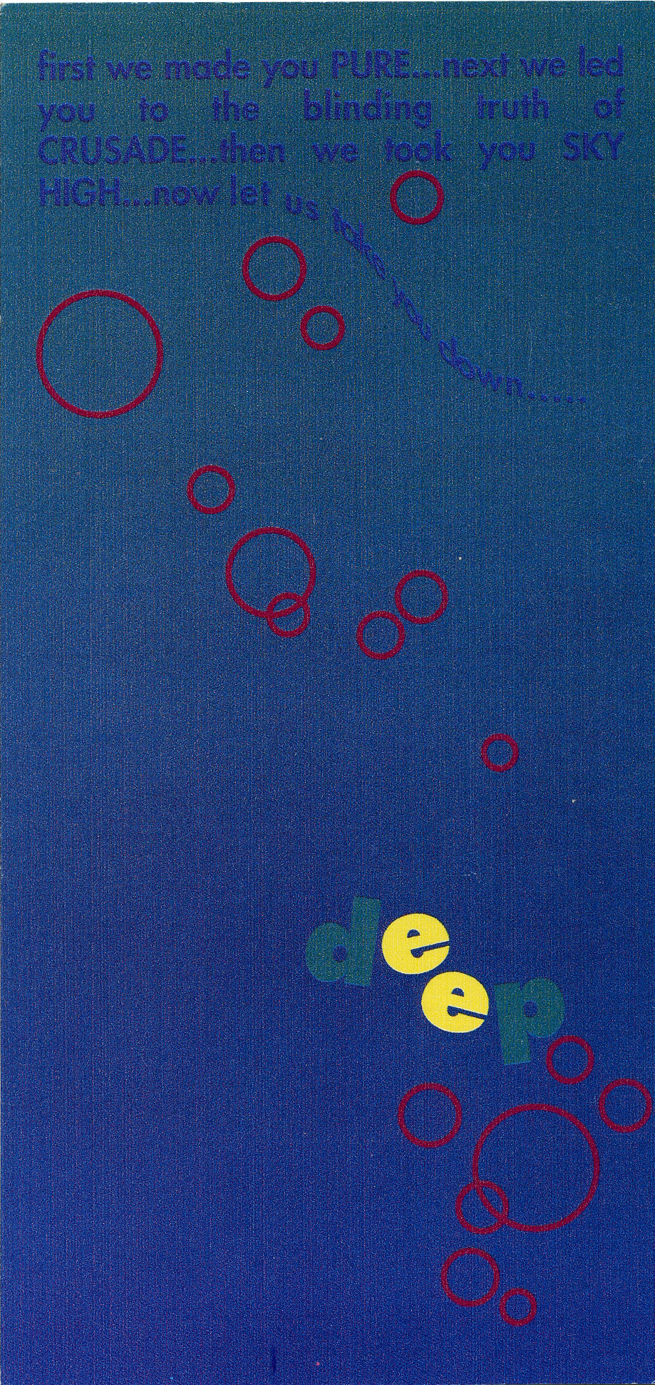 """dark blue flyer with red circles in a """"bubbling up"""" pattern from the title """"deep"""" in green and yellow letters"""