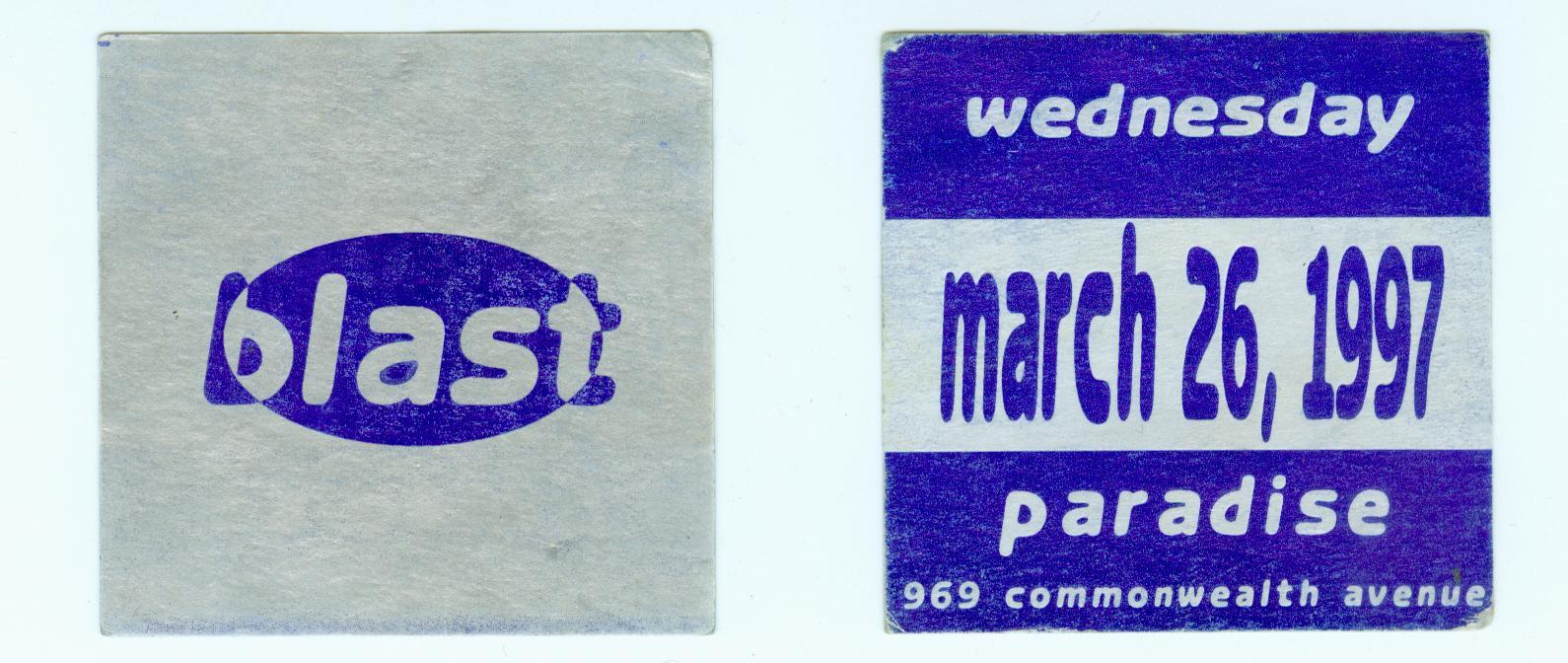 blast march 1997 paradise boston ma