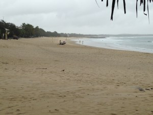 Noosa heads Main Beach all quiet, waiting for the rain to ease.