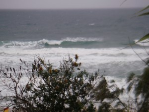 Sunshine Beach out front, Surf Club bank obliterated with the new swell.