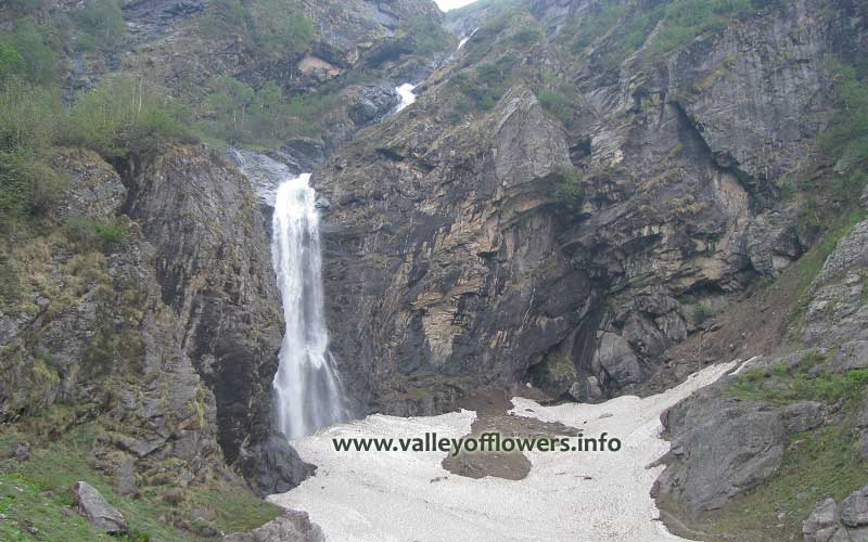 Beautiful waterfall near the entry gate of Valley of Flowers.