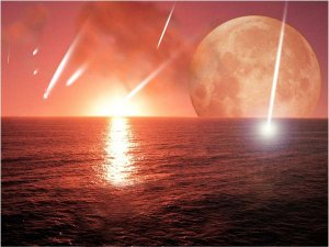 One 350 mile wide meteor + 12 comets sprinkled in over 500 million years + heat and sunlight. Mix for 500 million years more and there is life! Any questions?