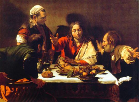 """30 When he was at table with them, he took the bread and blessed, and broke it, and gave it to them. 31 And their eyes were opened and they recognized him; and he vanished out of their sight. 32 They said to each other, """"Did not our hearts burn within us[e] while he talked to us on the road, while he opened to us the scriptures?"""" Luke 24"""