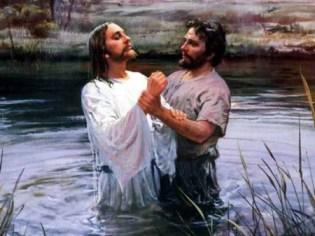 Jesus baptize by John in the Jordan River