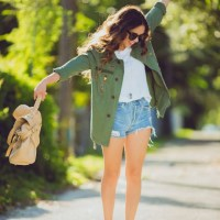 jacket x ripped shorts