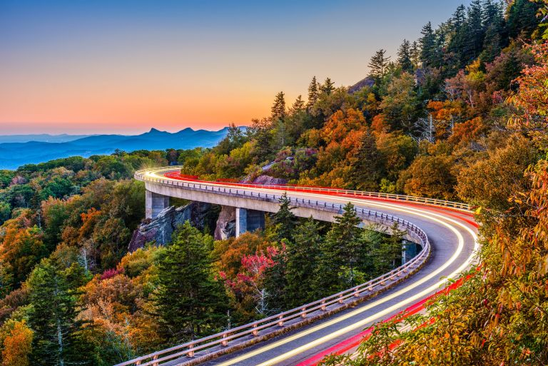 Sunset on the Blue Ridge Parkway's Linn Cove Viaduct
