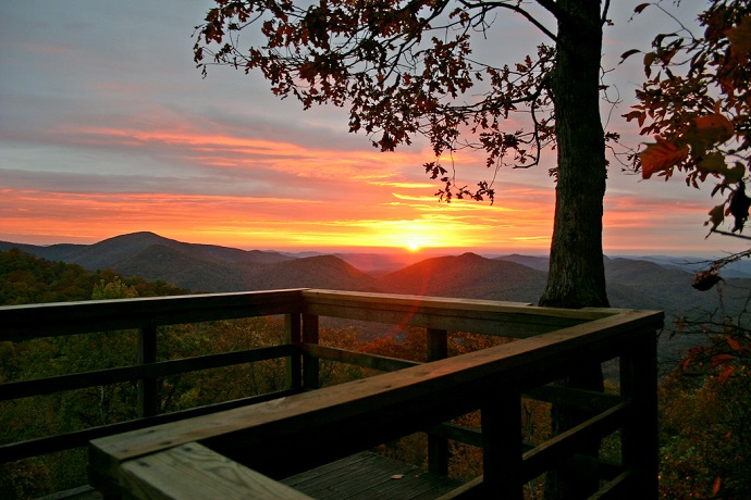 Sunset at Black Rock Mountain State Park, North Georgia
