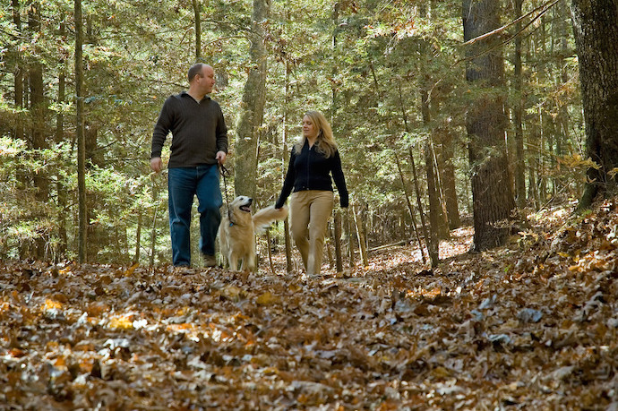 Couple and Dog Hiking the Byron Herbert Reece Nature Trail at Vogel State Park