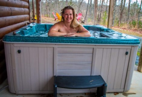 Mary in Hot Tub at Wood Haven Retreat in Blue Ridge, GA