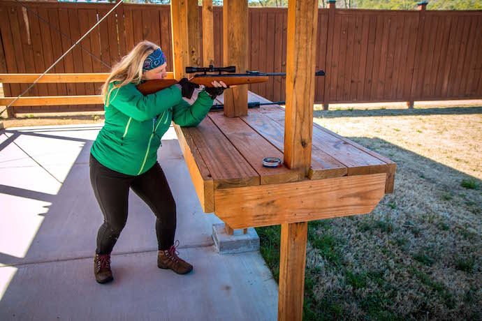Mary Gabbett using Air Rifle at Unicoi State Park Target Range