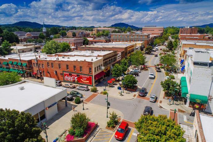 Aerial view of Hendersonville NC