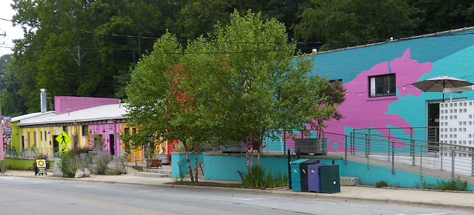 Exterior of Pink Dog Creative buildings in RAD Asheville