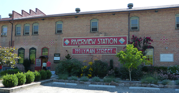 Exterior of Riverview Station in the Arts District of Asheville, NC