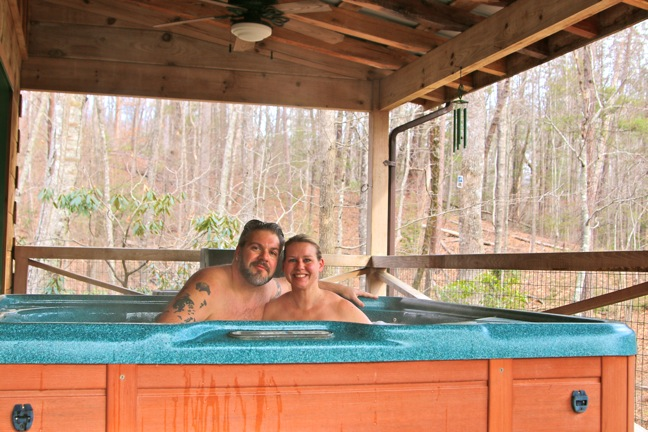 Hot Tub on Deck at Outrigger Cabin, Cottages at Spring House Farms