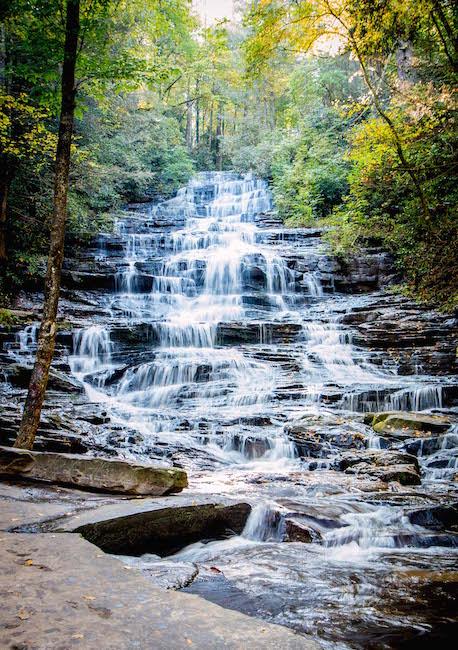 The 60-foot-tall Minnehaha Falls near Lake Rabun, GA