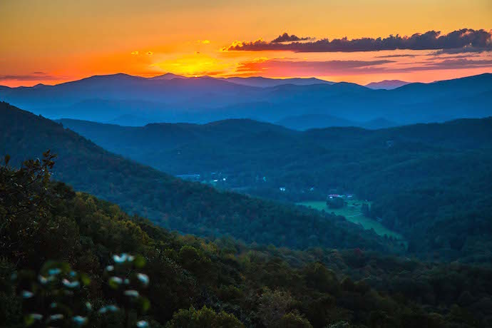Sunset seen from the Tennessee Rock Trail in Black Rock Mountain State Park
