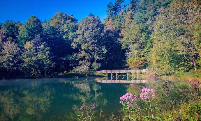 Wooden Bridge at Black Rock Lake in Black Rock Mountain State Park