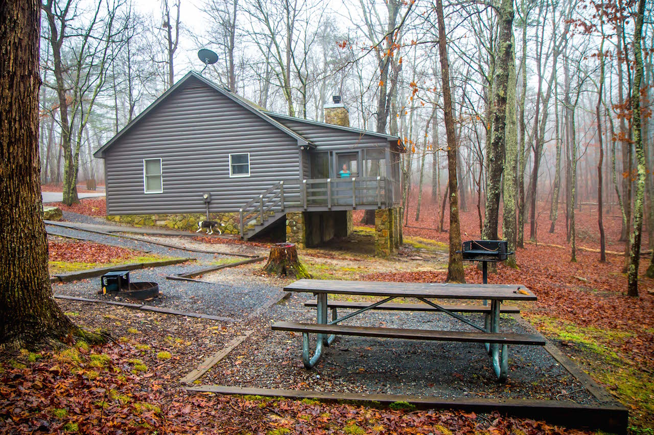 Foggy morning at Cloudland Canyon State Park Cabins