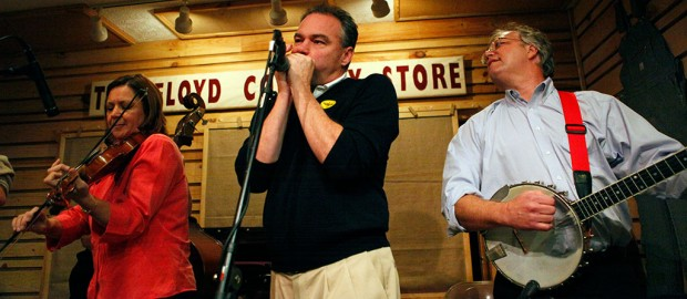 Tim Kaine on stage at The Friday Night Jamboree.