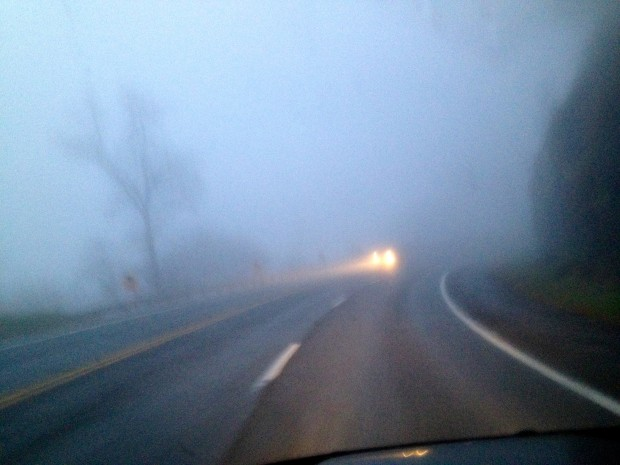 Heavy fog on Bent Mountain at 5:15 p.m. Saturday.