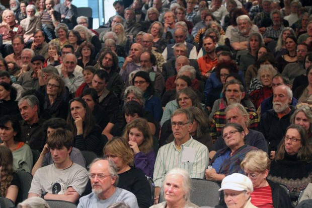 Part of the overflow crowd at the FCHS auditorium Friday night.