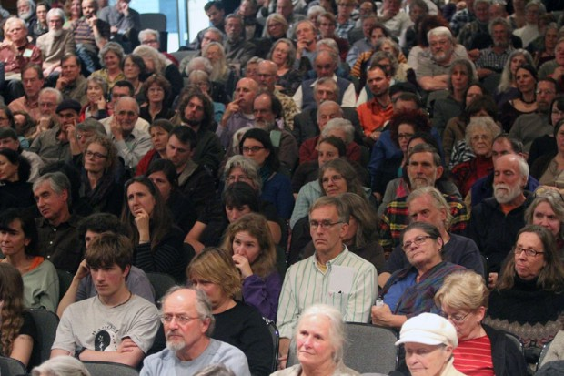 The audience for Wendell Berry's appearance in Floyd: Some felt they should have heard more from him and less from others.