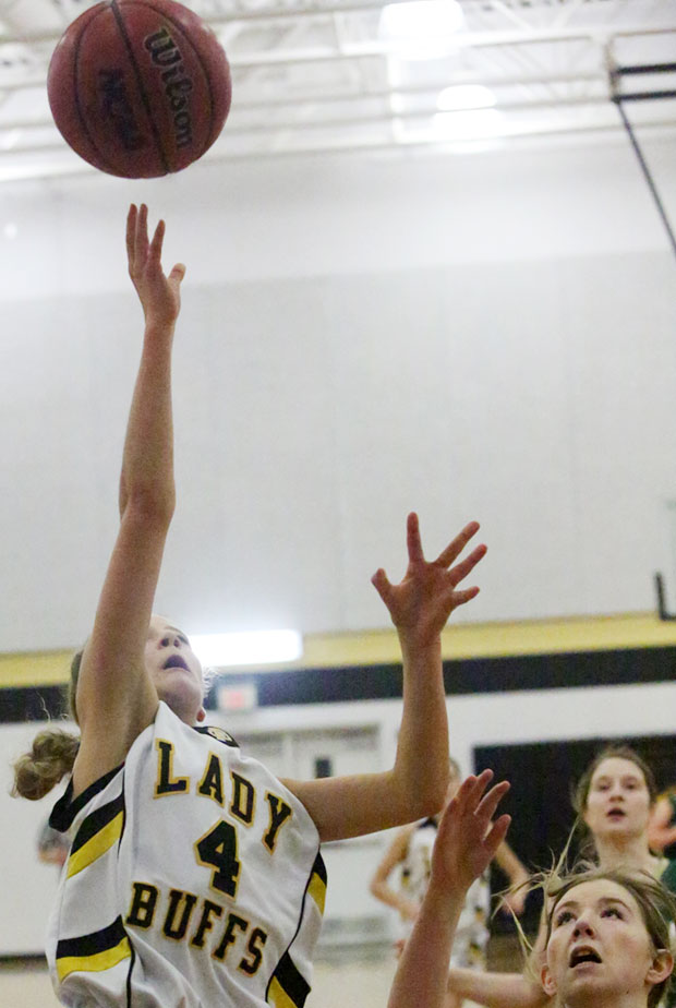 Elizabeth Quesenberry of the JV Lady Buffs, winners in North Carolina Friday night (photo from an earlier game).