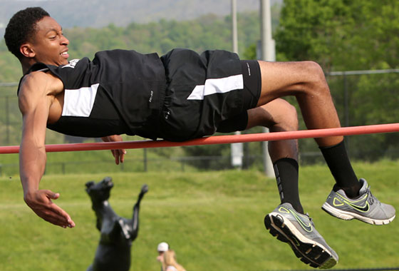 Blake Hairston competes in the high jump.