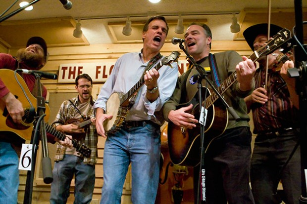 Mark Warner and Tim Kaine on stage during Floyd's Friday Night Jamboree.