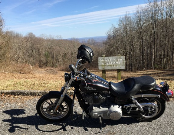 The dependable 2009 Harley-Davidson Dyna Super Glide at Smart-View overlook on the Blue Ridge Parkway on Sunday.