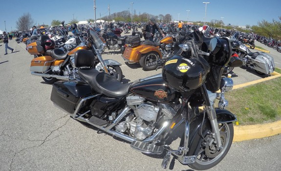 The motorcycles at Berglund Civic Center in Roanoke