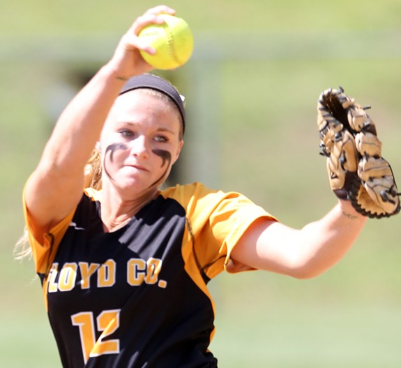 Ashley Gallimore: Nine strikeouts from the mound and the winning sacrifice bunt (photo from an regional playoff game).