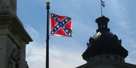 The Confederate flag flies at the South Carolina state house.