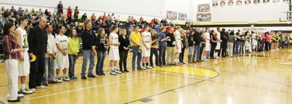 Seniors honored before a large crowd.