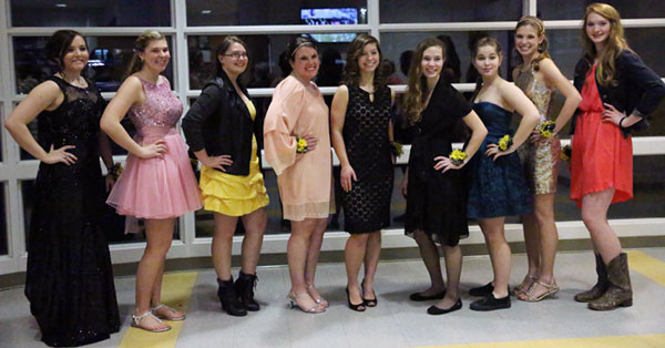 The Floyd ladies homecoming court before the game.