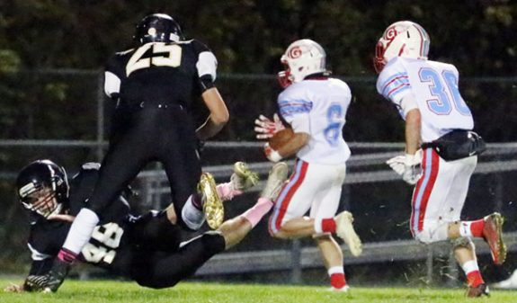 collide and wipe out the last chance to tackle Giles runner in opening kickoff return.