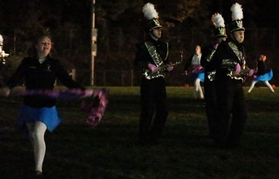 The Floyd County High School Marching Band plays in the dark after the lights went out.