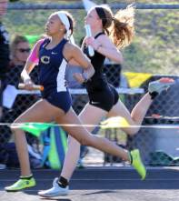 A close finish at the line in a FCHS track meet in 2019.