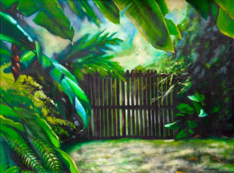 "Behind the garden gate, 30""x40"", acrylic on canvas, ©2014 Donna Grandin. $1800."
