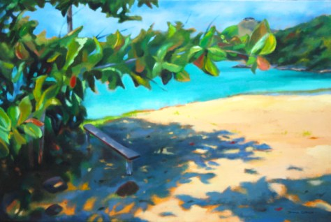 """In the shade, 24""""x36"""", acrylic on canvas, Donna Grandin"""