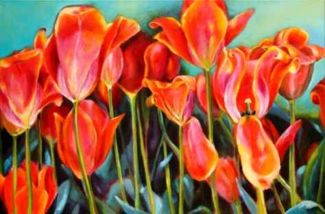 "Tulip mound, 24""x36"", acrylic on canvas, © Donna Grandin, 2012"